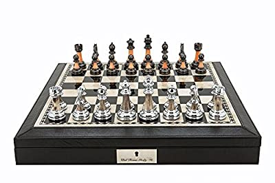 "L2012DR Dal Rossi 16"" Chess Set Black Finish with PU Leather Edge with compartments and Metal / Marble Finish Chess Pieces"