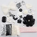 Min kitty- DIY for cellphone ,for iphone 4 4S ,iphone 5 5c 5G,for iphone 6 iphone 6 plus for samsung note 4 samsung s5 mini s5 i9600 for samsung galaxy s3 i9300 ,for samsung galaxy s4 i9500 for sony/htc/nokia/google etc 3D Bling white pearl bow bowknot black rose lady shoes diamond love style Cell Phone Case Resin crystal diamond Flat back Kawaii Cabochons Deco Kit / Set ,cellphone diy ,merry christmas gift ,xmas