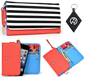 Alcatel OT-585 Phone Holder Wristlet Wallet Cover Protective Case [ Coral Striped Black White ] + NuVur Keychain (ESAMMTC1)