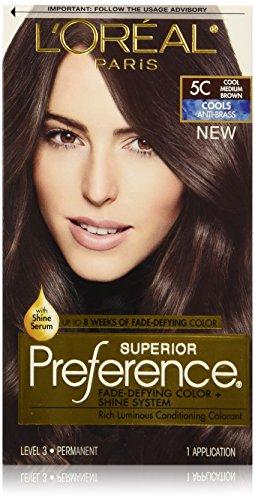 L'Oréal Paris Superior Preference Fade-Defying + Shine Permanent Hair Color, 5C Cool Medium Brown, 1 kit Hair Dye