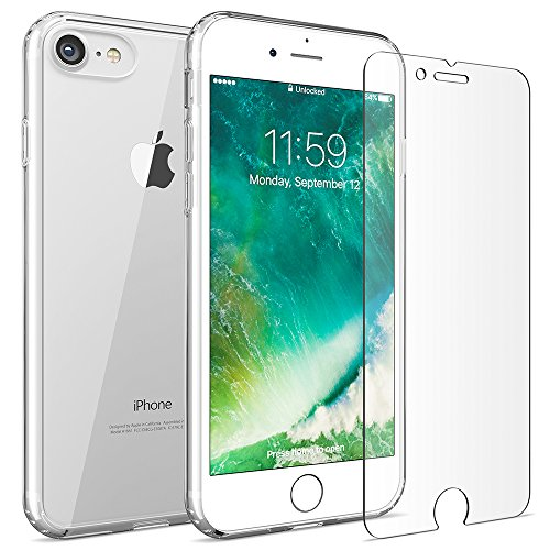 Crystal Premium Hard (FlexGear iPhone 7 8 case [Aura 360] Slim Clear Hard PC Back TPU bumper + Glass Screen Protector, Compatible with iPhone 7/8 (Clear))