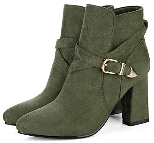 Easemax Women's Elegant Faux Suede Pointy Toe High Chunky Heels Pull On Ankle High Booties Green hJDAq