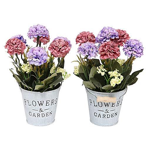 (Doannotium Set of 2 Artificial Mini Potted Plants Home Decoration(Hydrangea,Purple))