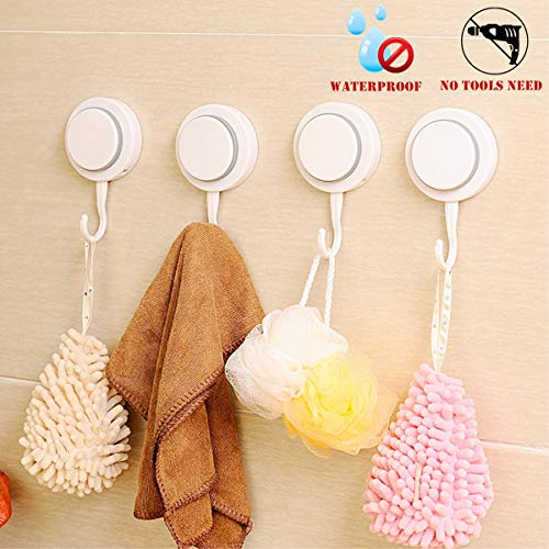 Walls Home & Decoration Powerful Vacuum Suction Cup Hooks - Organizer for Towel, Robe, Loofah – Waterproof Suction Hooks Holder for Shower Bathroom Kitchen Restroom (4-Pack)