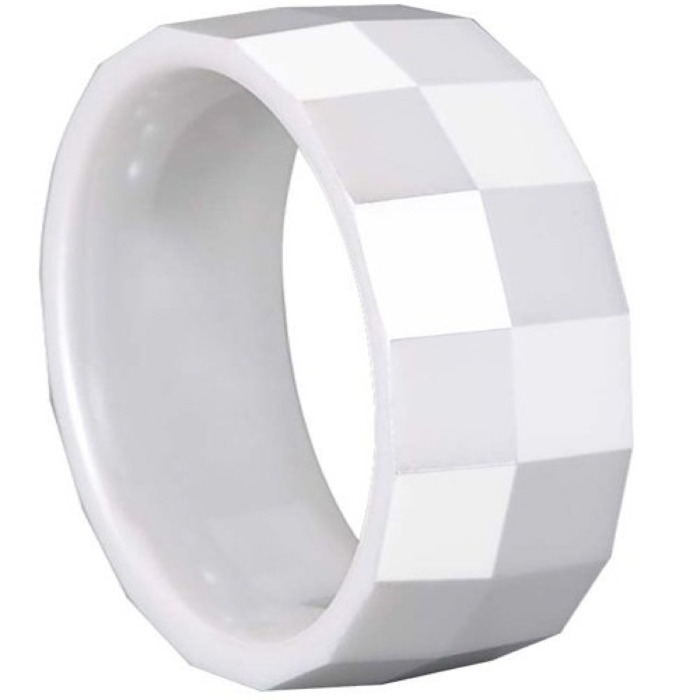 Faceted Design Comfort Fit. GESTALT COUTURE White Ceramic Ring 10mm Width