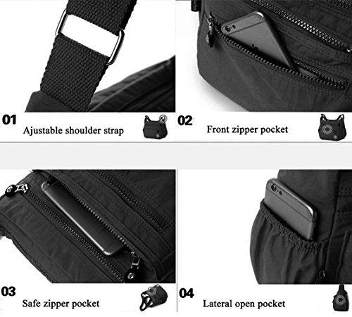 Bag Pocket handbags Women's Casual Multi 3 Shoulder Bag Black Messenger Travel Daypack Crossbody q5xv0w5