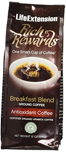 Life Extension Rich Rewards Natural Breakfast Blend Ground Coffee, Vanilla, 12 Ounce