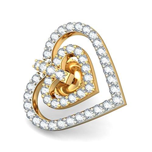 14K Or jaune 0,48CT TW White-diamond (IJ | SI) Boucles d'oreille à tige