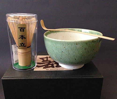 Japanese Porcelain Oribe Matcha Bowl with Spoon & 100 Count Whisk Tea Ceremony Gift Set by Yokohama Gifts
