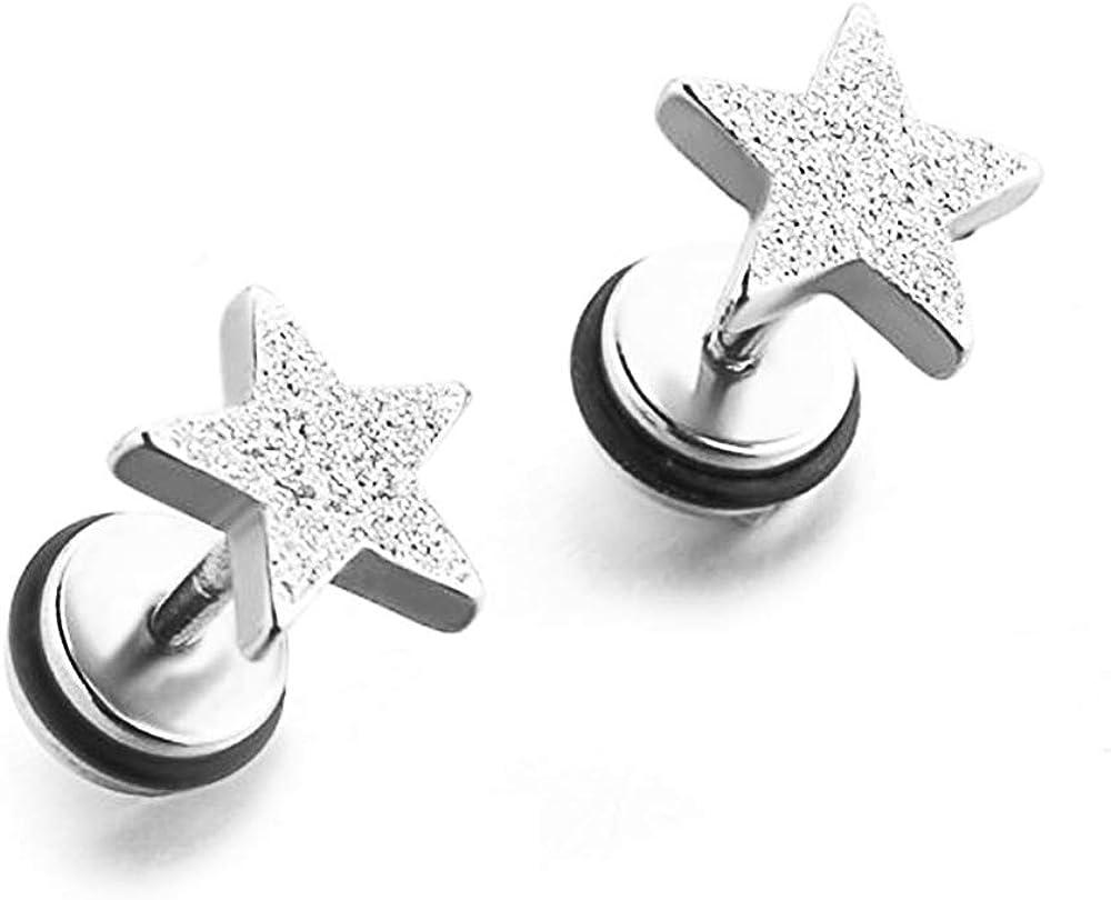 YC_jewelry 1-3 Pairs Stainless Steel 16G Stud Earrings Star Shape Earring Piercing for Women Men With Screw Back.