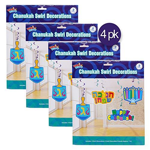 Chanukah Swirl Decorations - 32 Pieces - Giant Hanging Menorahs, Dreidels, Happy Chanuka and Chanukah Sameach Signs - Hanukkah Party Decorations and Supplies - Izzy 'n' Dizzy - Party Decorations Hanukkah