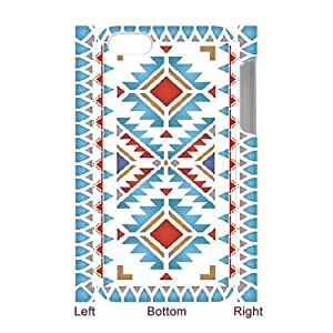 3D iPhone 4/4s Cases, Native American Border Designs ,North Plains Border Stencil stencilled with the Navajo Chevron Border Scratch Resistant Cases For iPhone 4/4s {White}