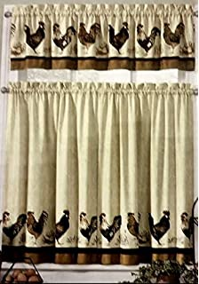 Great Rooster Country Kitchen Window Curtain Set 3 Pc