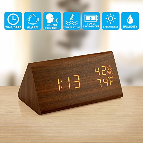 lock, Wood LED Digital Desk Clock, UPGRADED With Time Temperature, Adjustable Brightness, 3 Set of Alarm and Voice Control, Humidity Displaying - Brown (Desk Clock Camera)