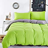 Grey Green Bedding Set Duvet Cover Pillow Sham Flat Sheet Teen Kids Boys Girls Bedding, Full/Queen Size