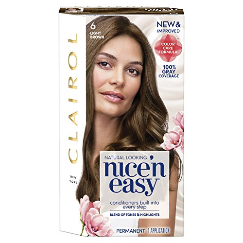 Clairol Nice 'N Easy Permanent Hair Color, 6 Light Brown, 1 Count (Packaging May Vary)