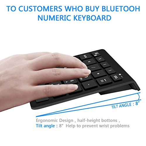 Rytaki Bluetooth Number Pad, Portable Wireless Bluetooth Keypad with Multiple Shortcuts- 28-Key Numeric Keypad Keyboard Extensions for Laptop, Tablets, Surface Pro, Windows, Smartphones and More-Black by Rytaki (Image #7)