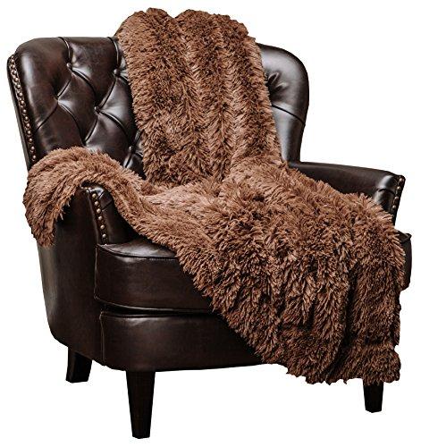 Chanasya Super Soft Long Shaggy Chic Fuzzy Fur Faux Fur Warm Elegant Cozy with Fluffy Sherpa Chocklate Brown Microfiber Throw Blanket (60