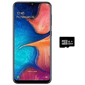 Samsung Galaxy A20 (32GB + 32GB SD Bundle) 6.4″ Fast Charge 4000mAh Battery US+Global 4G LTE Dual SIM GSM Unlocked A205G/DS International Model(Blue)