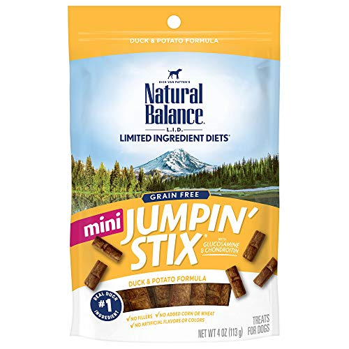 Natural Balance L.I.D. Limited Ingredient Diets Mini Jumpin' Stix Dog Treats, Duck & Potato Formula, 4 Ounces, Grain Free