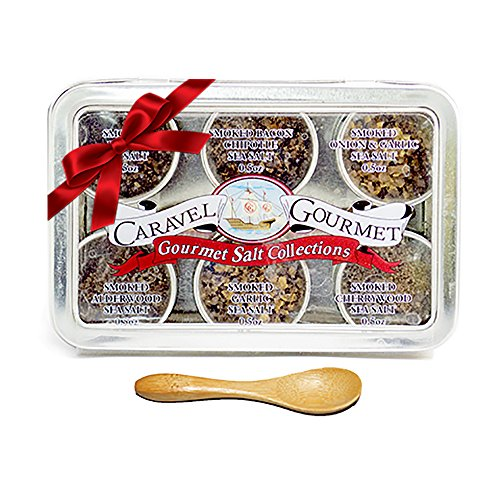 Gourmet Smoked Sea Salt Gift Set - Infused w/All Natural Flavors - Garlic, Bacon, Alderwood, Garlic&Onion, Bacon Chipotle & Cherrywood - Gluten Free No-MSG Non GMO Paleo 6 Tin Sample 1/2oz each