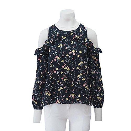 2017 Summer Ladies T-Shirt popular de la hoja de Lotus sin tirantes de manga larga Black