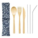 Bamboo Cutlery Set with 8.5 inch Stainless Steel Metal Straw and Cleaner,7.8 inch Bamboo Utensils for Travel and Camping,Portable with Case To Go