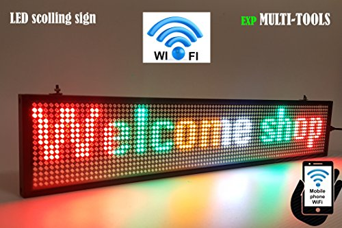 LED Display Mix Color with WiFi Connection, LED Scrolling Message Sign, Bright and in New Light auminum housing by exp MULTI-TOOLS