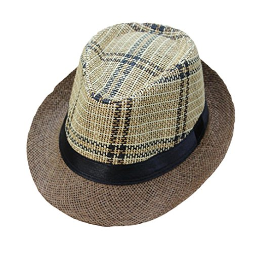 (CocoMarket Unisex Trilby Gangster Cap Lattice Pattern Beach Sun Straw Hat Band Sunhat (F))