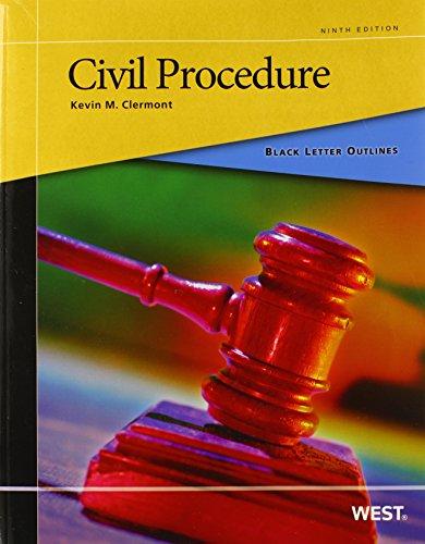 Black Letter Outline on Civil Procedure, 9th (Black Letter Outlines)