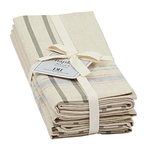 DII Design Imports Napkins Set of 4 (Natural French Stripe)