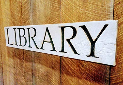 """LIBRARY sign 40""""x8"""" Carved in Wood with Distressed Black & White Finish"""