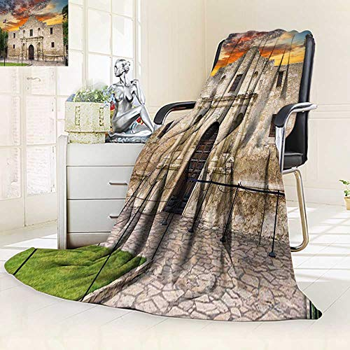 YOYI-HOME Twin Size Bed Duplex Printed Blankets Super Soft Exterior View of The Historic Alamo shortly After Sunrise Fleece Blanket for Bed or Couch/79 W by 47