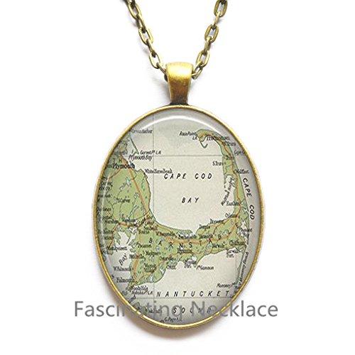 (Charming Necklace Cape Cod map Pendant, Cape Cod Pendant, resin Pendant, Cape Cod Necklace map jewelry,A0030)