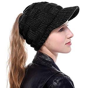 Tacobear Femme Bonnet Queue Messy Chignon Chapeaux Casquette de Baseball tricotée Queue de Cheval Chapeaux Trou Bonnet…