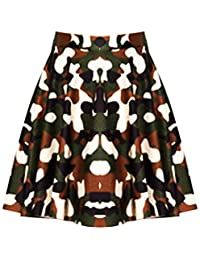 Chocolate Pickle Womens Plus Size Army Print Flared Skater Party Skirts