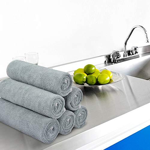 Grey Dish Rags: SINLAND Absorbent Rag Microfiber Dish Cloth Kitchen Streak