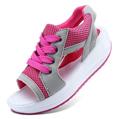 Leawin メッシュ ウェッジソール サンダル レディース 厚底靴 スニーカー ランニング シューズ 通気性 メッシュ スポーツ サンダル