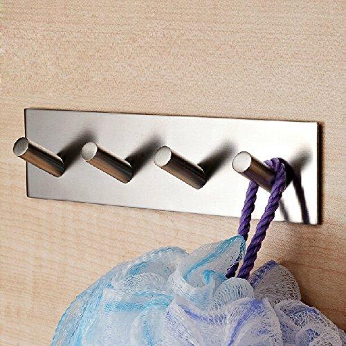 304 Stainless Steel Self Adhesive Hook Bathroom Kitchen Towel Hanger Style 4 - 1