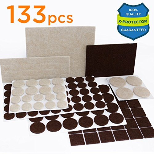 X-PROTECTOR Premium TWO COLORS Pack Furniture Pads 133 piece! Felt Pads Furniture Feet Brown 106 + Beige 27 various sizes – BEST wood floor protectors. Protect Your Hardwood & Laminate Flooring (2 1 1 Chair)