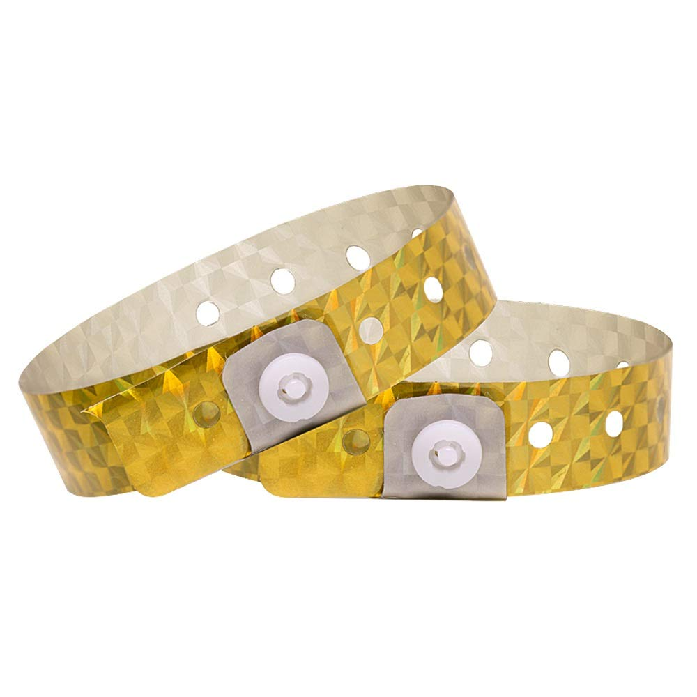 Ouchan Holographic Plastic Party Wristbands Gold - 500 Pack Vinyl Wristbands for Events Club Music Meeting by OUCHAN