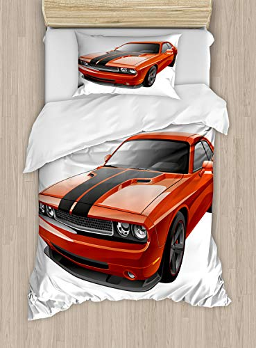 Lunarable Boy's Room Duvet Cover Set Twin Size, Modern Muscle Car Exotic Sports Hobby Activity Leisure Concept Design, Decorative 2 Piece Bedding Set with 1 Pillow Sham, Orange Charcoal Grey