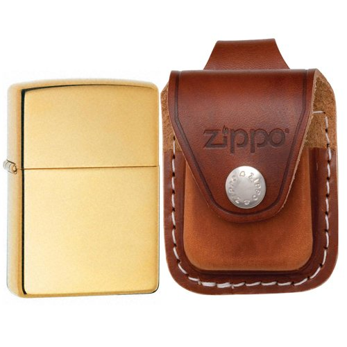 Zippo 254B Classic High Polish Brass Windproof Pocket Lighter with Zippo Brown Leather Loop Pouch (Brown Pouch Lighter Zippo Leather)