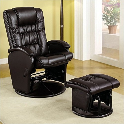 Coaster Home Furnishings Upholstered Glider with Matching Ottoman Brown