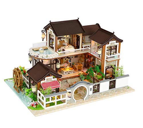 Cool Beans Boutique Miniature DIY Dollhouse Kit Wooden Asian Traditional Mansion with Landscape - with Dust Cover - Architecture Model kit (English Manual)- Traditional Asian Home 13848Z from Cool Beans Boutique