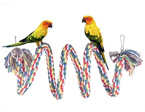 OnePlus Colorful Bird Perch Natural Dye Rope Parrot Chewing Toy Sturdy Bird Swing for Bungees, Parakeets, Cockatiels and Macaws (59 in)