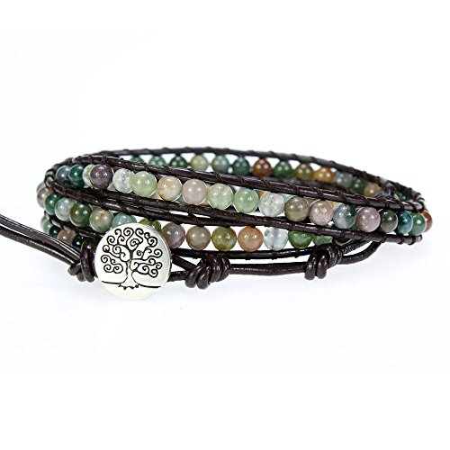Tree of Life Genuine Leather Bracelet Bangle Cuff Rope Bead 3 Wrap Adjustable Multicolor India Agate (Three Button Wrap)