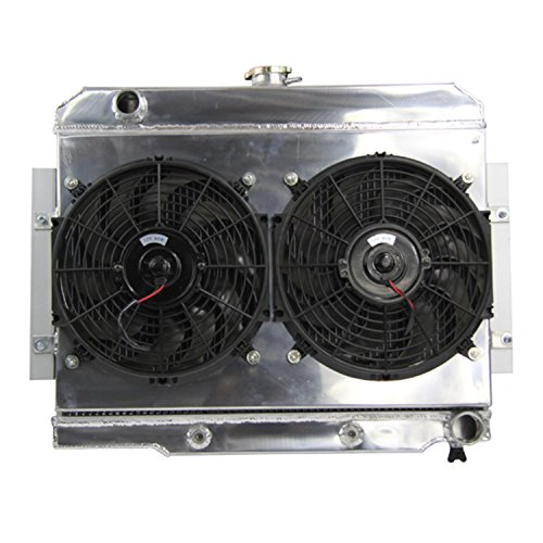 Primecooling 3 Row All Aluminum Radiator +Fan (12 Inches Dia.) Shroud for 1972-86 Jeep CJ Series w/GM Chevy SBC Engine Conver.