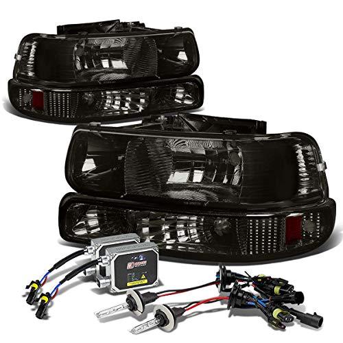 (For Chevy Silverado/Tahoe 4-PC Headlight+Bumper Light (Smoke Lens Amber Reflector)+12000K HID+Thick Ballasts - GMT800)