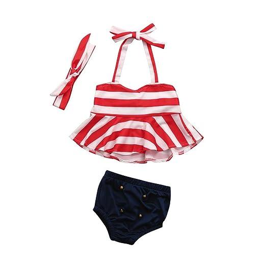 4552f2d70147 Staron 3pcs Toddler Baby Swimsuit Girls Striped Swimwear Bikini Set With  Headbands (0-6